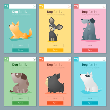 Animal banner met de hond voor web design, vector, illustratie
