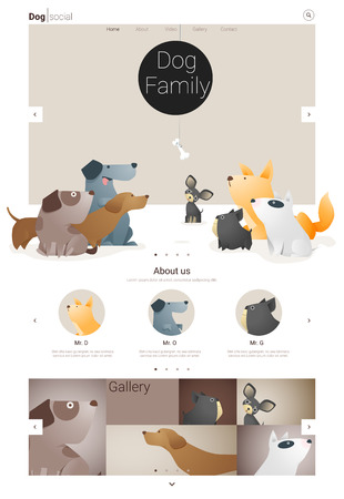 Animal website template banner en infographic with Dog, vector, illustratie