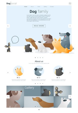chihuahua pup: Animal website template  banner and infographic with Dog, vector , illustration