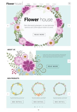 e pretty: Floral website template  banner and infographic , illustration