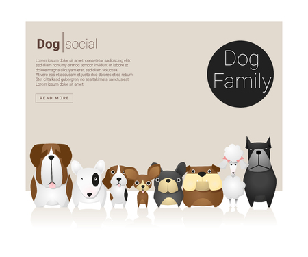 bull dog: Animal banner with Dog for web design