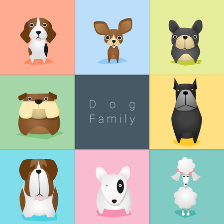 Set van de hond familie, vector, illustratie