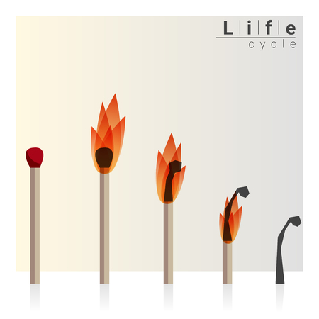 time lapse: Match time lapse, Life cycle, vector, illustration