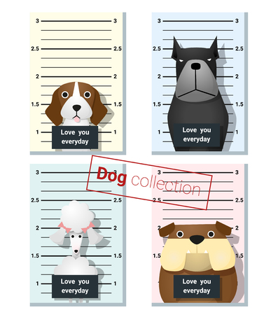 whelp: Mugshot of  cute dogs holding a banner , vector, illustration