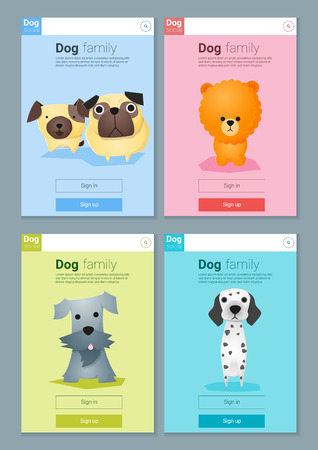 Animal banner with dogs for web design