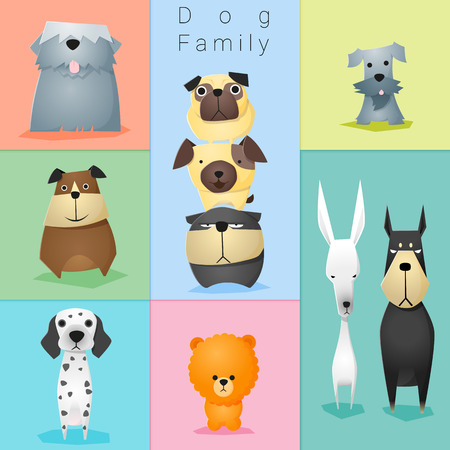 Set of dog family Stock Vector - 54944836