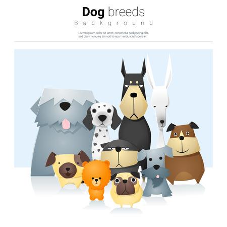 Dierlijke achtergrond met honden Stock Illustratie