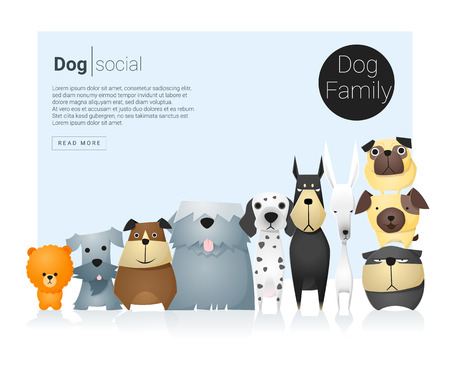whelp: Animal banner with dogs for web design