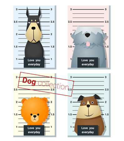 mugshot: Mugshot of  cute dogs holding a banner