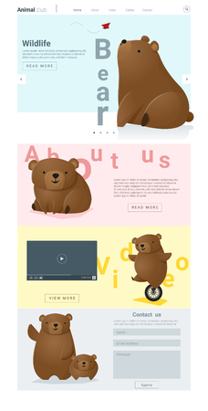 social actions: Animal website template with cute Bears Illustration