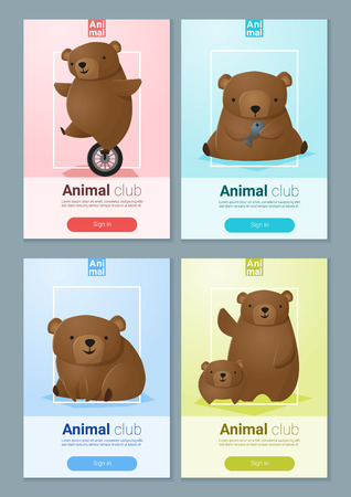 whelps: Animal banner with Bears for web design Illustration