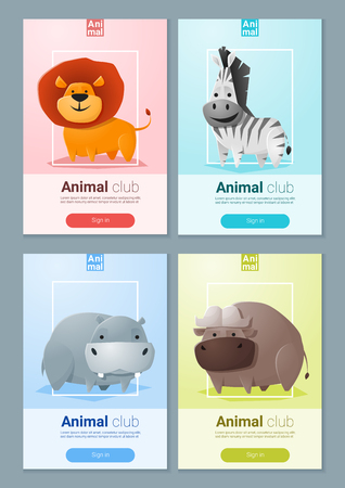 wild web: Set of Wild animal templates for web design, vector, illustration
