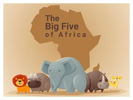 big five: Wild African animal background Big five,vector, illustration