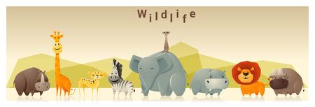 야생 동물 배경, 벡터, 그림