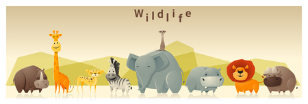 cartoon banner: Wild animal background ,vector, illustration
