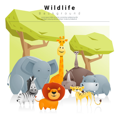 Wild dier achtergrond, vector, illustratie Stock Illustratie