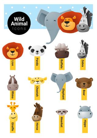 meerkat: Set of cute animal icons wildlife , vector, illustration