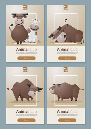 funny ox: Animal banner with Cows for web design ,vector, illustration