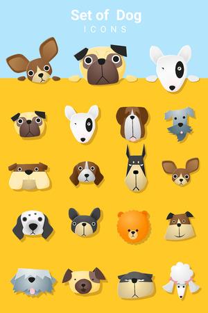 Set of cute dog icons , vector, illustration Vettoriali