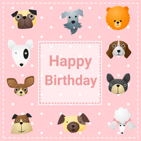 funny dogs: Cute happy birthday card with funny dogs, vector, illustration