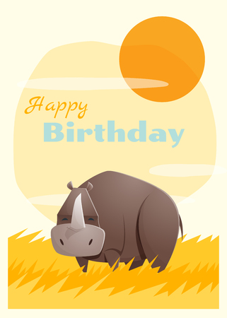 rhino vector: Birthday and invitation card animal background with rhino,vector,illustration Illustration