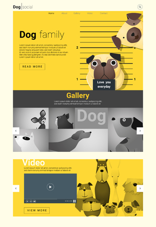 whelp: Animal website template  banner and infographic with Dog, vector , illustration
