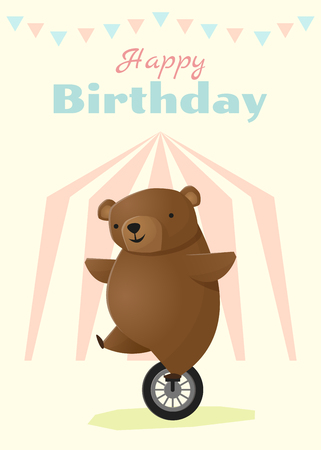 Birthday and invitation card animal background with bear,vector,illustration
