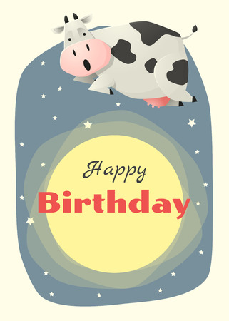 funny ox: Birthday and invitation card animal background with cow,vector,illustration Illustration