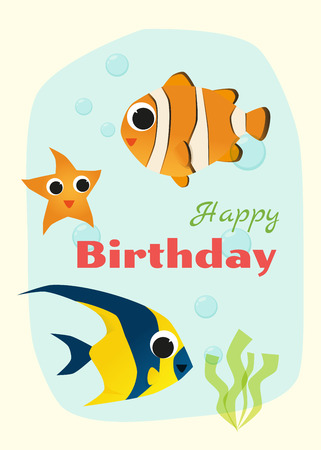 anemonefish: Birthday and invitation card animal background with fish,vector,illustration Illustration