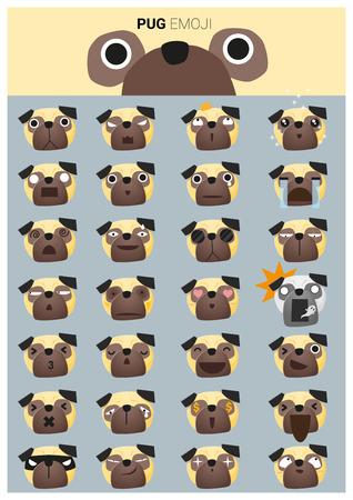 perro asustado: iconos emoji amasado, vector, ilustración