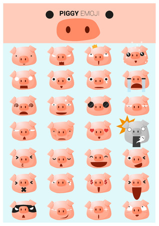 Piggy emoji icons, vector, illustration