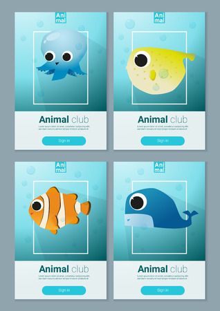 set of sea animal templates for web design royalty free cliparts