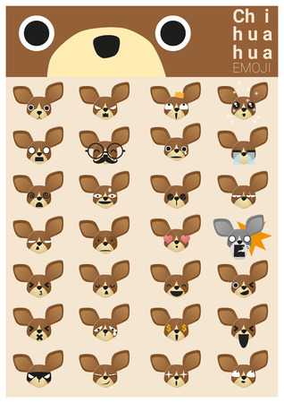 frightened dog: iconos emoji Chihuahua Vectores