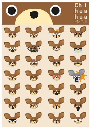 perro asustado: iconos emoji Chihuahua Vectores