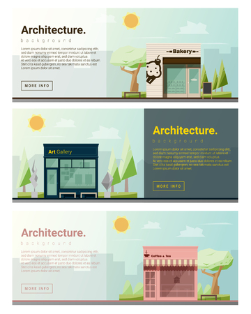 website background: Cityscape background  shops and stores banner