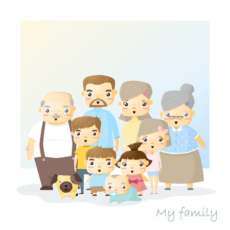 big family: Cute family portrait Big family background, illustration