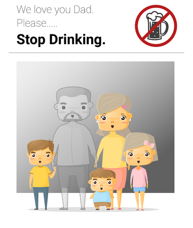 intoxicated: Family campaign daddy stop drinking, illustration