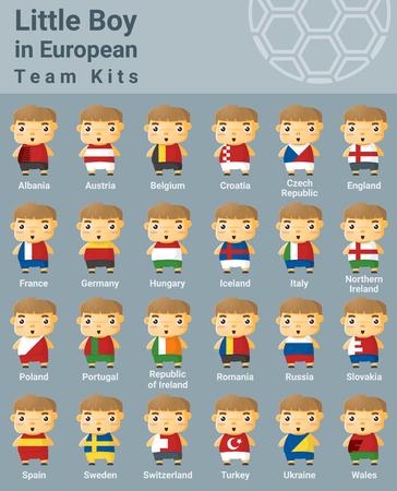 kits: Set of kids in European sport team kits