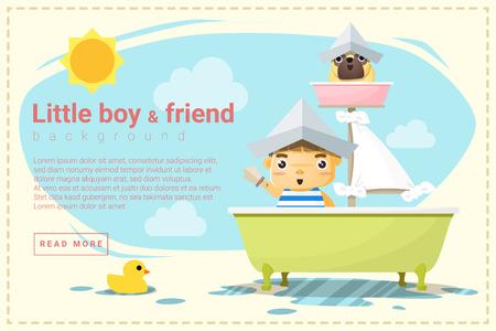 ship captain: Little boy ship captain and friend background