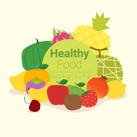 Healthy food background with fruits , vector, illustration Illustration