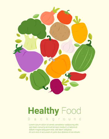 Healthy food background with vegetable, vector, illustration