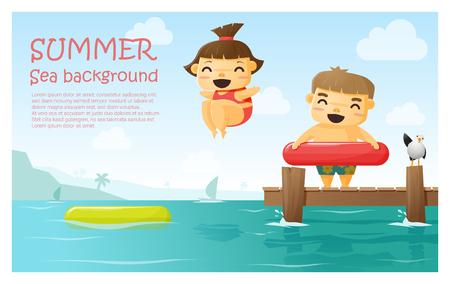 enjoy: Enjoy tropical summer holiday background , vector , illustration Illustration