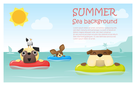 water animal bird card  poster: Enjoy tropical summer holiday with little dog,  vector, illustration Illustration