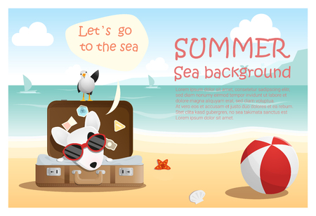 summer holiday: Enjoy tropical summer holiday with little dog,  vector, illustration Illustration