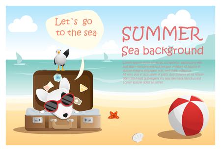 summer dog: Enjoy tropical summer holiday with little dog,  vector, illustration Illustration