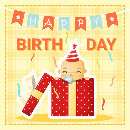 Happy birthday kaart met schattige baby, vector, illustratie Stock Illustratie
