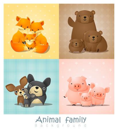 whelps: Set of cute animal family portrait , vector , illustration
