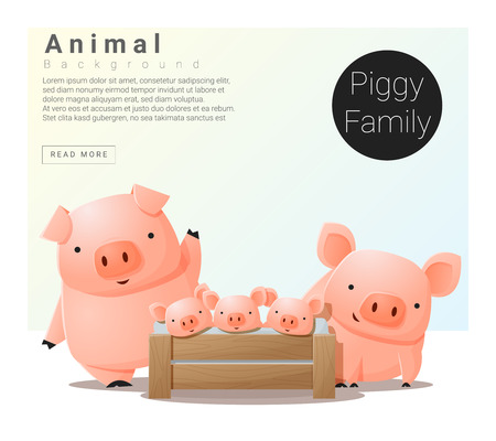 Cute animal family background with Pigs , vector , illustration
