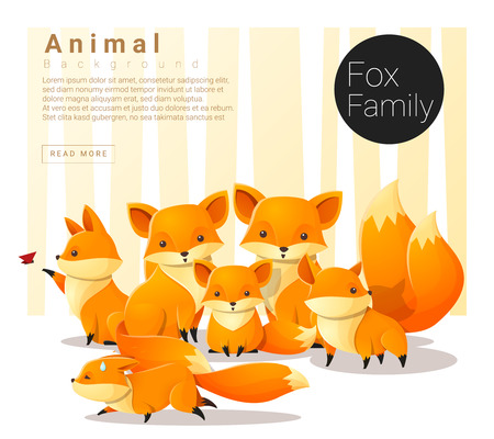 Cute animal family background with Foxes , vector , illustration