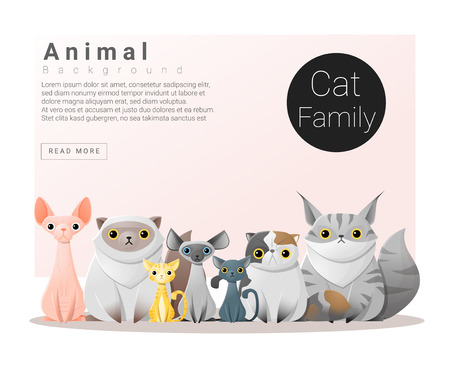 Cute animal family background with Cats, vector , illustration  イラスト・ベクター素材
